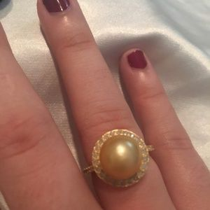 South Sea Golden Cultured Pearl Ring with Diamonds